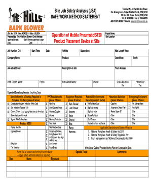 job safety analysis form example