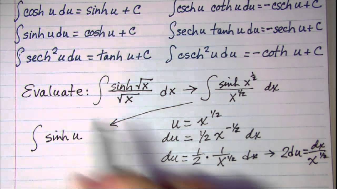 integration of hyperbolic functions example problems