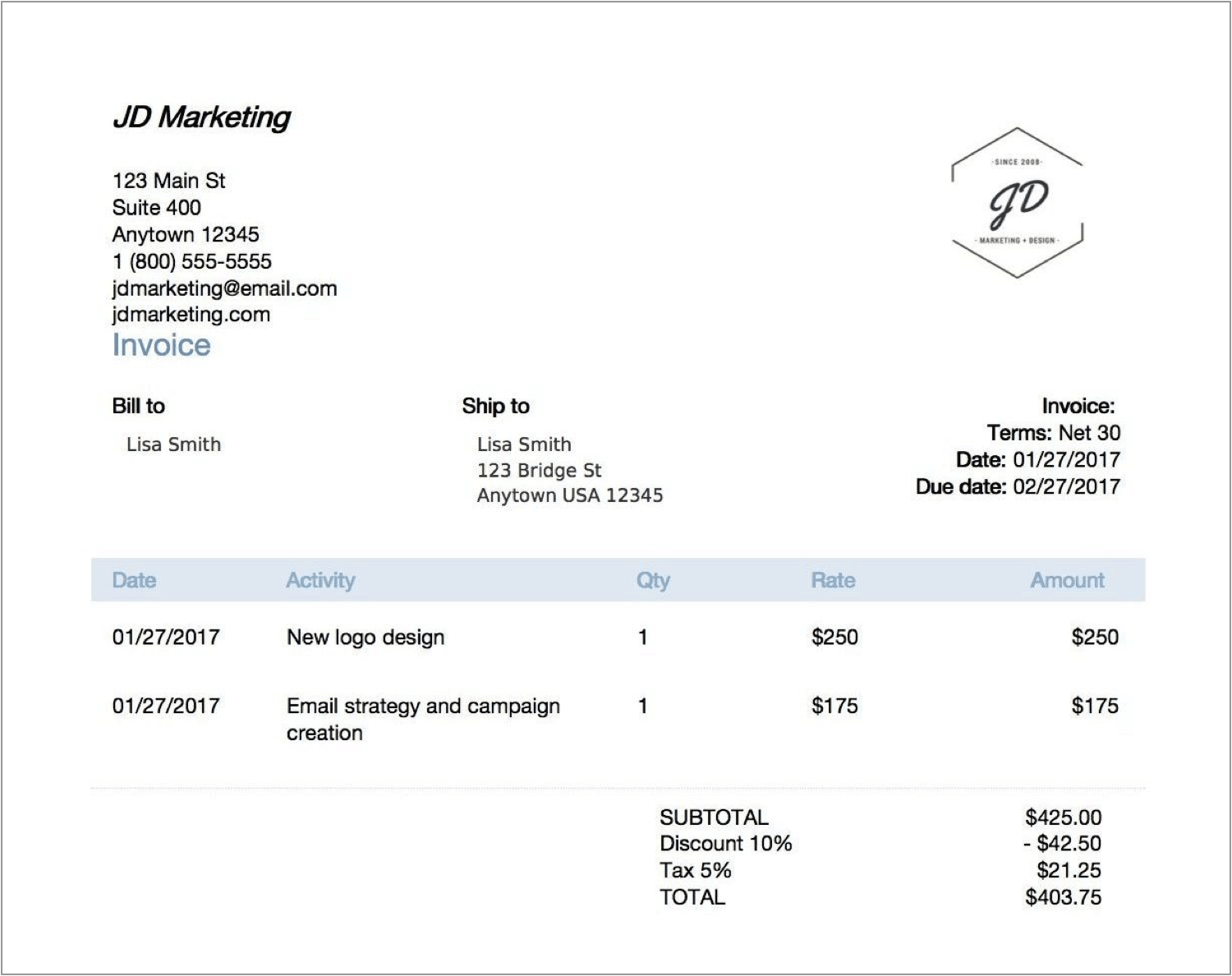 example 2 late fees on invoices