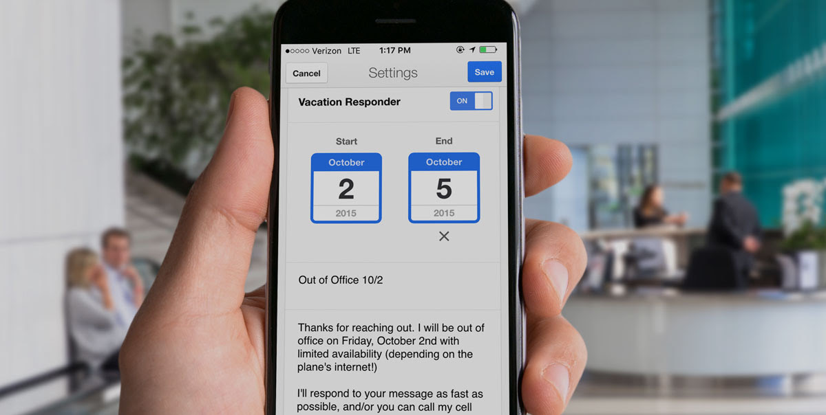 out of office message example limited access to email