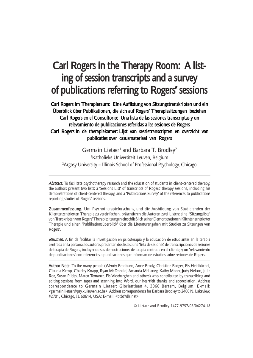 person centered therapy session example