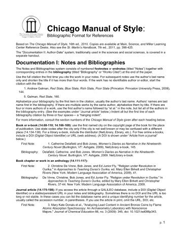 chicago style citation notes and bibliography example