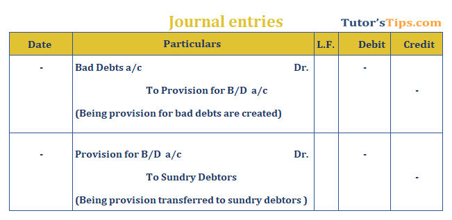 bad debts journal entry example