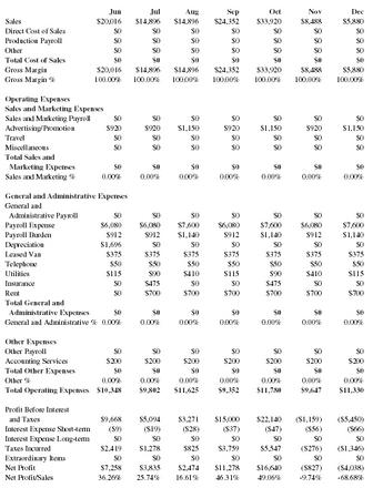 income statement for service company example
