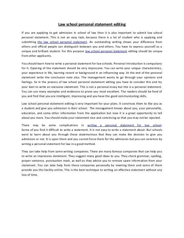 example of a law personal statement