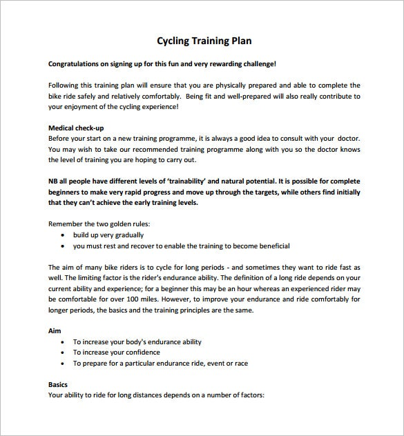 conduct individual training outline example