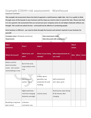 coshh risk assessment form example