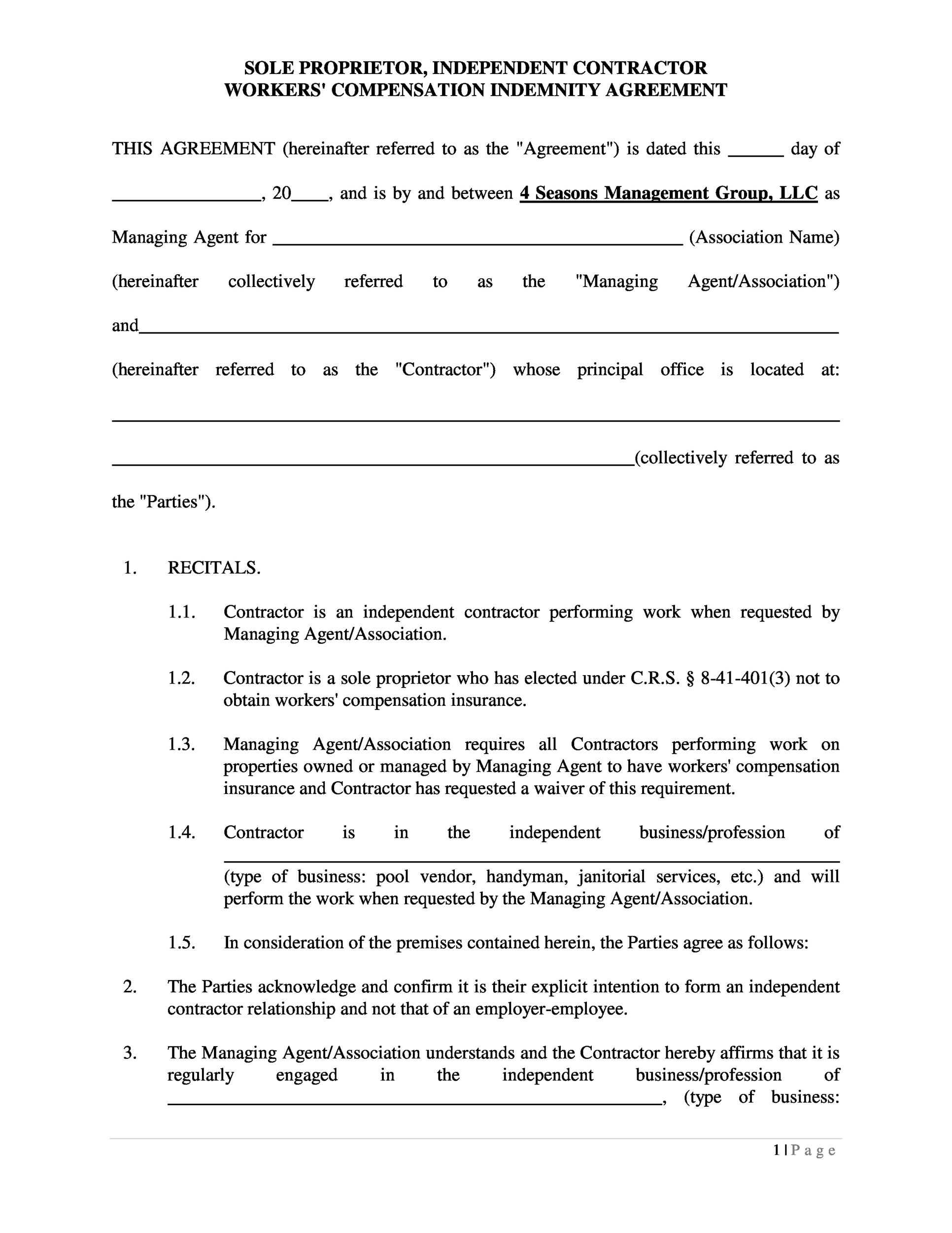 example contract of an independent contractor