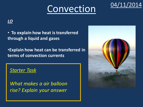 give an example of heat transfer by convection