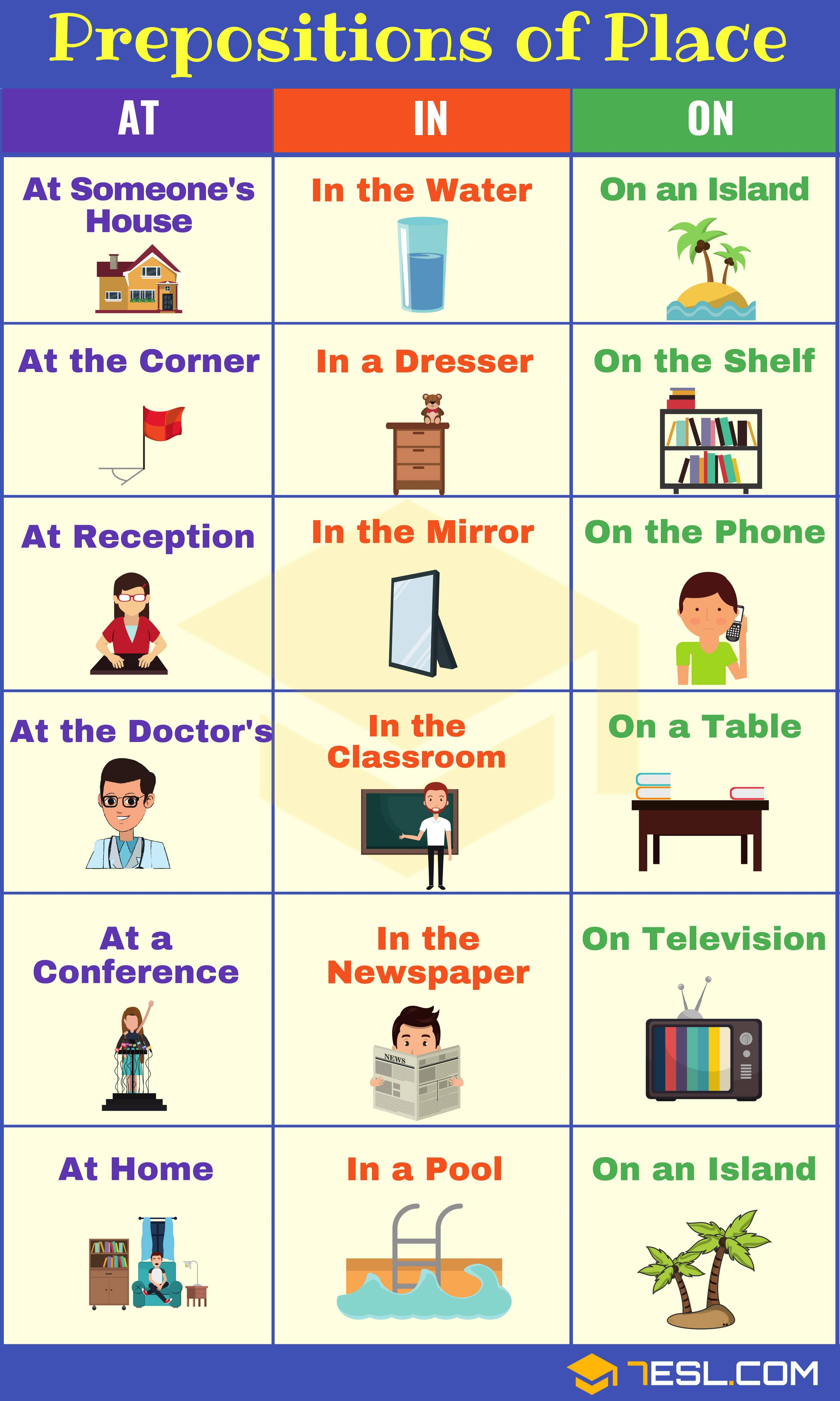 use of prepositions in english with example