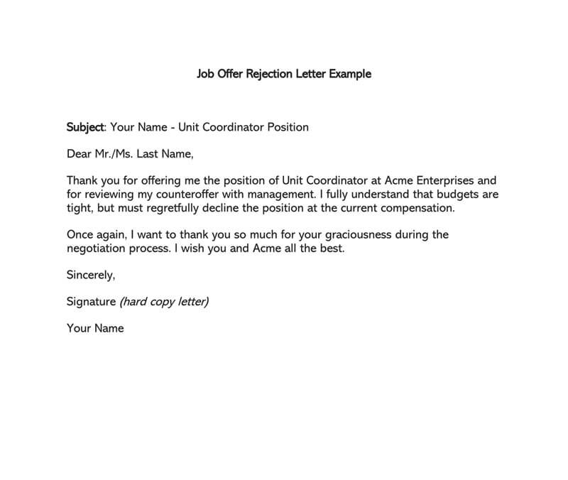 how to decline a job offer example