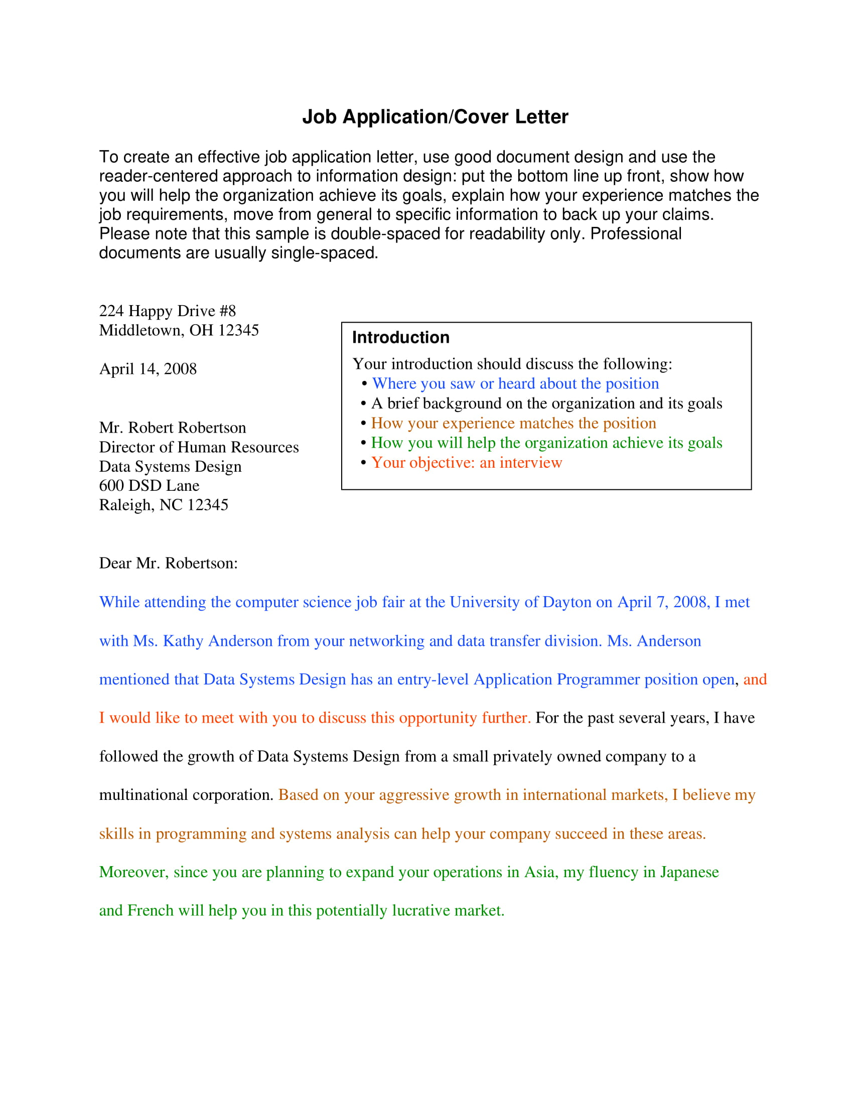 cover letter example job application purdue owl