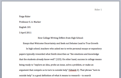 college research paper example mla