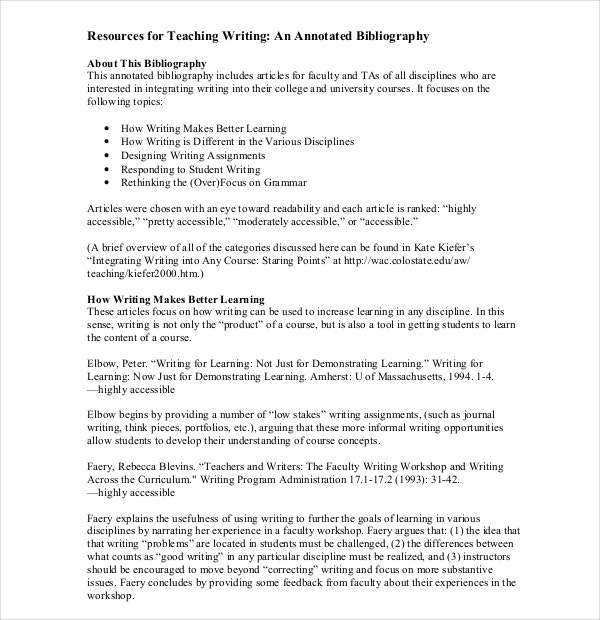 how to make an annotated bibliography example