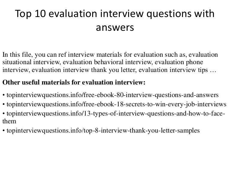 example answers to self evaluation questions