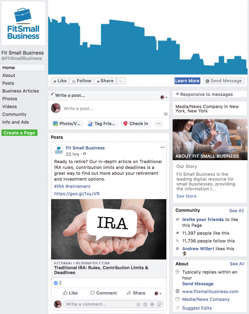 facebook page post link ad example