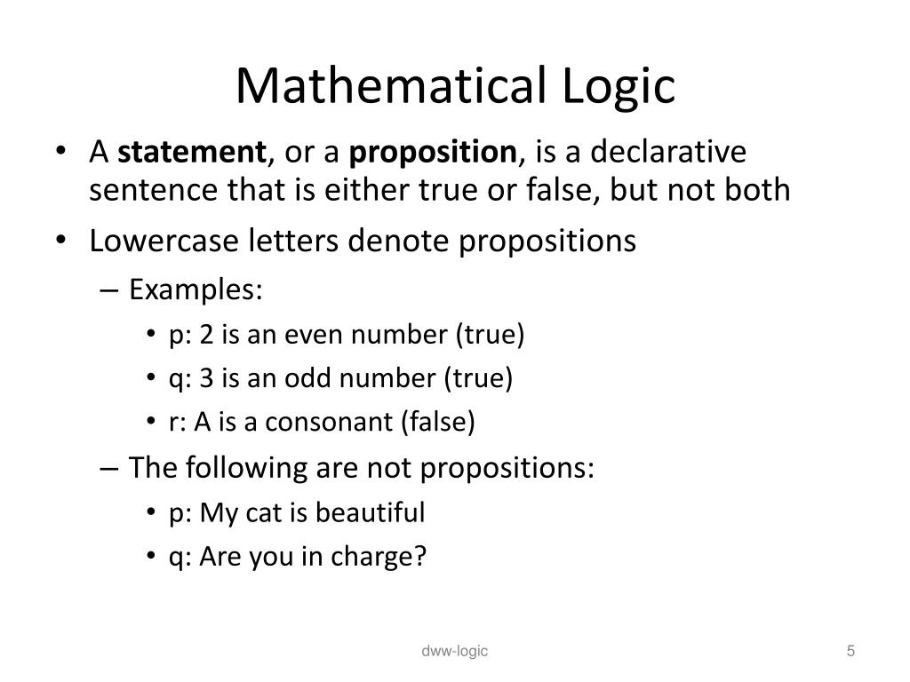mathematical sentence definition and example