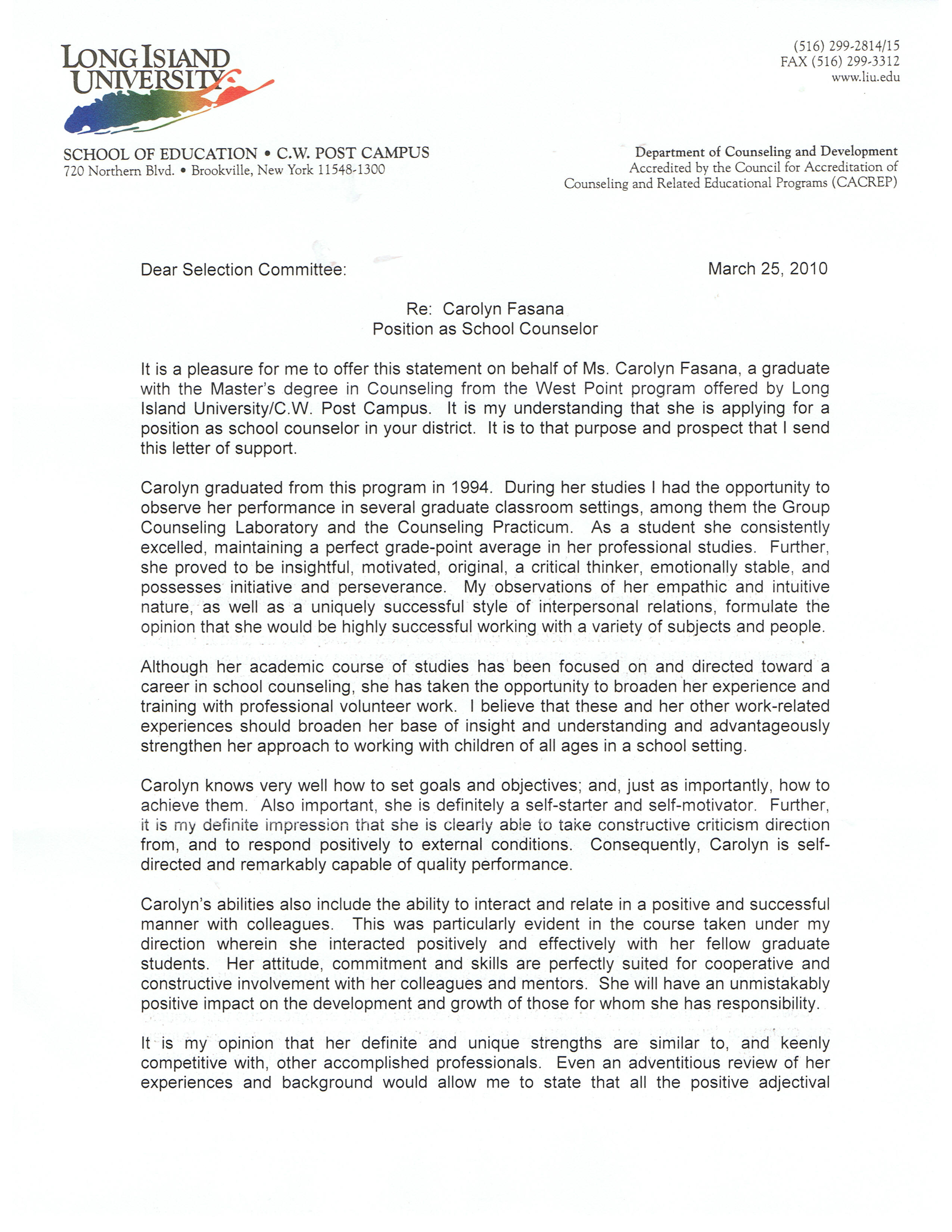 positive letter of recommendation example