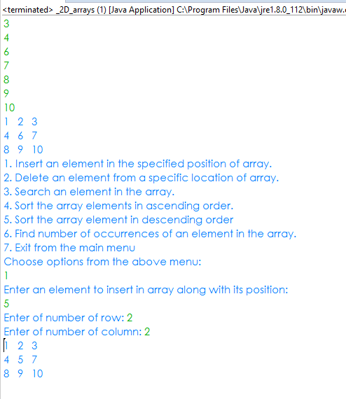 two dimensional array java example program