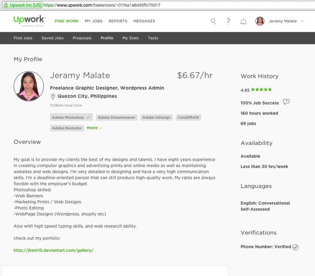 upwork profile for writer example