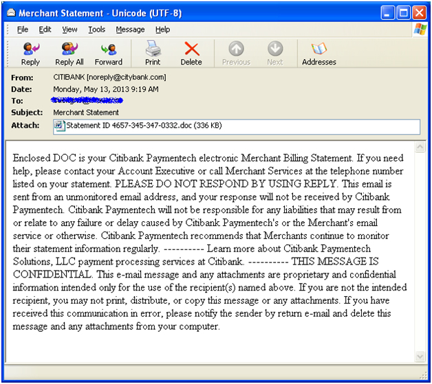 what is an example of an email virus